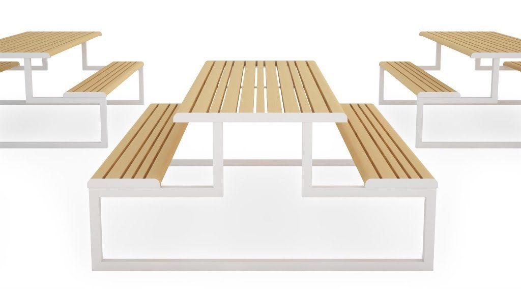 Mobiliário para convívio em praças em áreas externas ou nem tanto (fotos Dimmebi, divulgação)