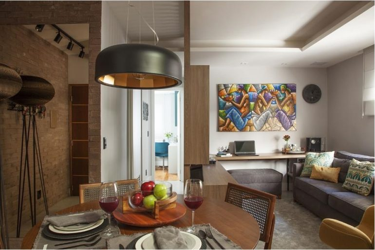 Integração na área social garante o conforto para o convívio enoo apartamento de 40 metros quadrados