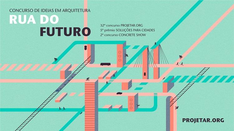 Cartaz do concurso para estudantes de arquitetura ou recém-formados para projetar ruas