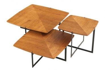 Mesas da MSul Móveis com tampo inspirado em pipas (fotos divulgação)