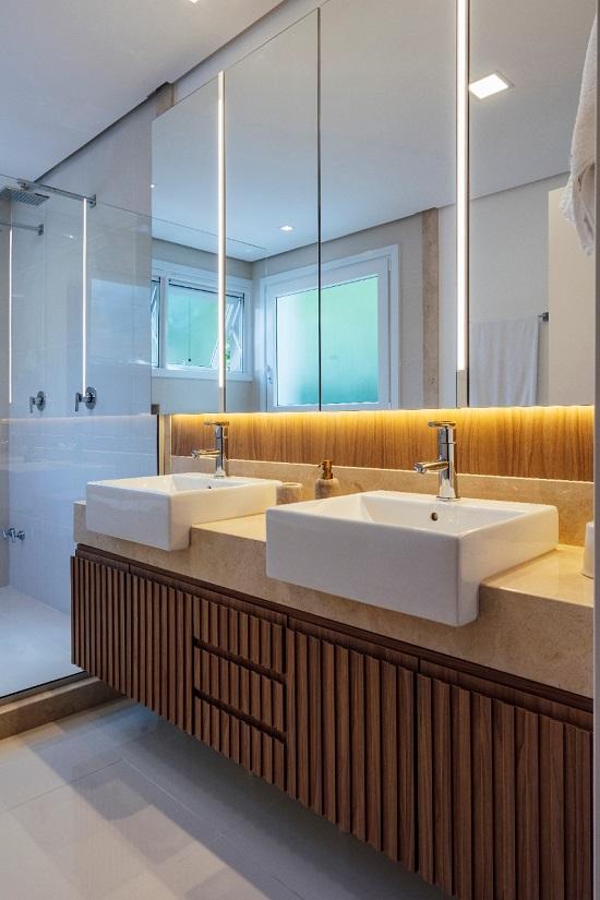 Banheiro para casal: cada um com a sua cuba