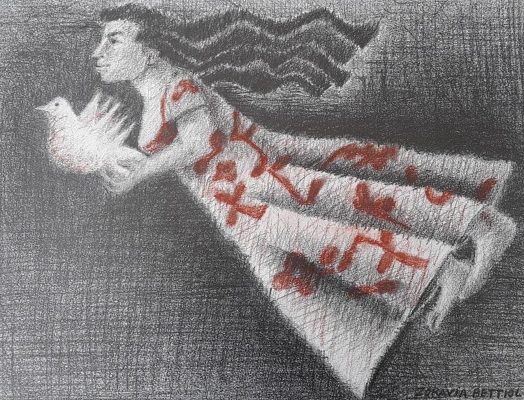 Esperança, desenho a lápis e sanguínea por Zoravia Bettiol