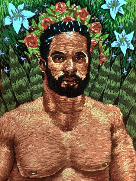 Rafael Dambros criou Espada de San Jorge com bordado sobre tecido