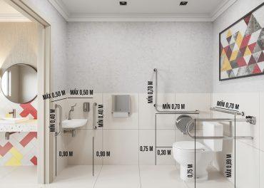 Barras são necessárias em banheiros acessíveis