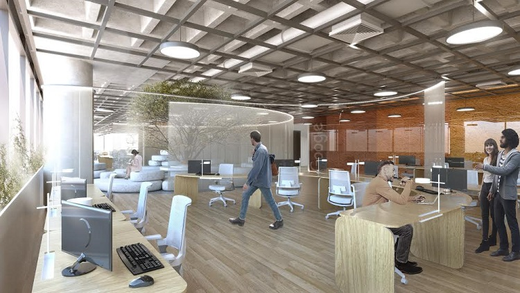 Projeto dentro do conceito de escritório vivo para Google Brasil, em BH