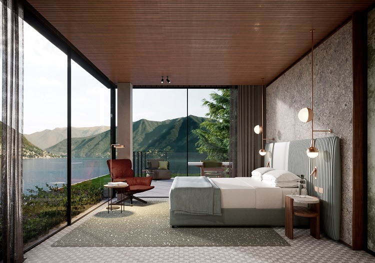 Dormitório da nova penthouse do Il Sereno no Lago di Como