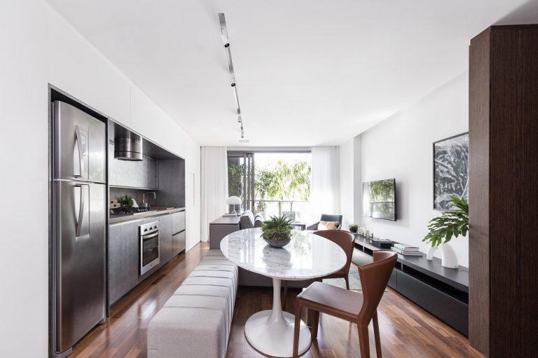Apartamento do Anita Residence com interiores projetados por Ambidestro