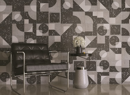 Grafismos com sobriedade no revestimento Roca inspirado na Bauhaus