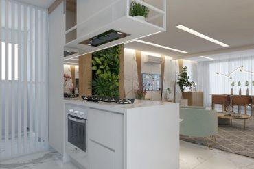 Ambiente de cozinha integrada à área social, projeto de Marília Zimmermann (fotos Divulgação)