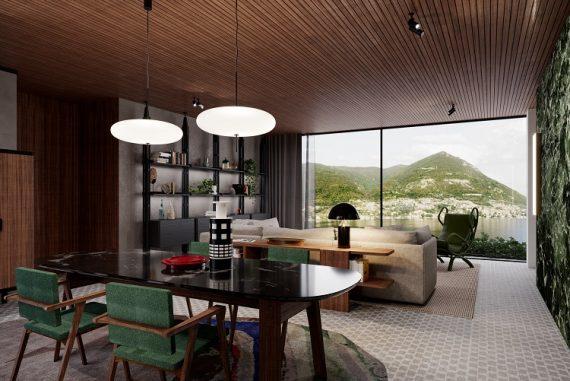 Sala da ala nova do Hotel Il Sereno, projeto de Patricia Urquiola